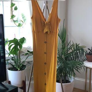 Mustard Ribbed Knit Button-Up Midi Dress